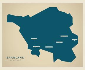 Moderne Landkarte - Saarland