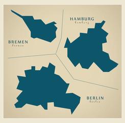 Moderne Landkarte - Stadtstaaten Bremen Hamburg Berlin