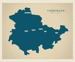 Moderne Landkarte - Thüringen
