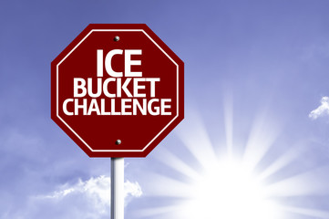 Ice Bucket Challenge red sign with sun background