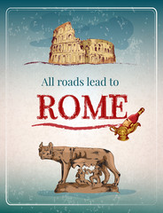 Rome retro poster