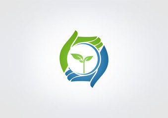 Natural healthy  hand care plant logo