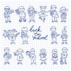 Set of carton doodle kids