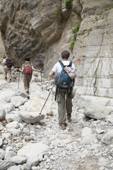 Hikers in Samaria Gorge