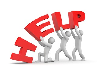 Help. Teamwork metaphor