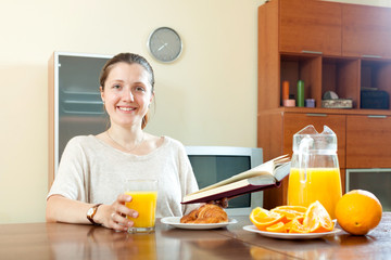 Young woman having breakfast