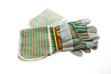 Arbeiter und Garten Handschuhe in Reggae Farben