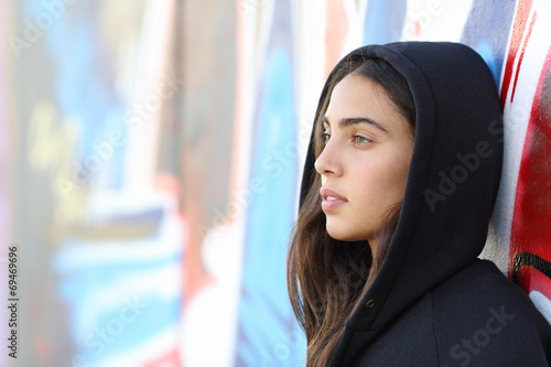 Profile portrait of a skater style teenager girl - 69469696