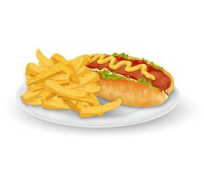 Hot dog french fries