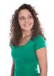 canvas print picture - Blick einer lachenden jungen Frau in Shirt grün