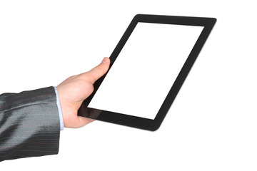 Man hand holding tablet PC on white background .