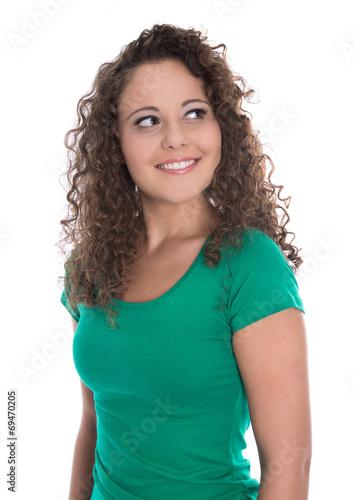canvas print picture Blick einer lachenden jungen Frau in Shirt grün