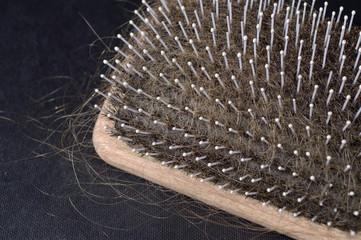Haarbürste voller Haare wegen Alopezie dunkler Hintergrund