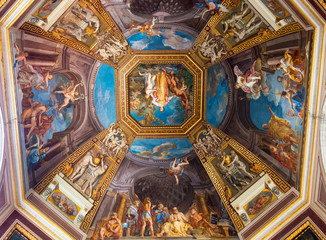 The ceiling in one of the galleries of the Vatican Museums