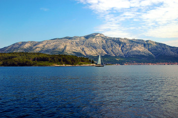 Mountains on the Mainland from Korcula, in Croatia