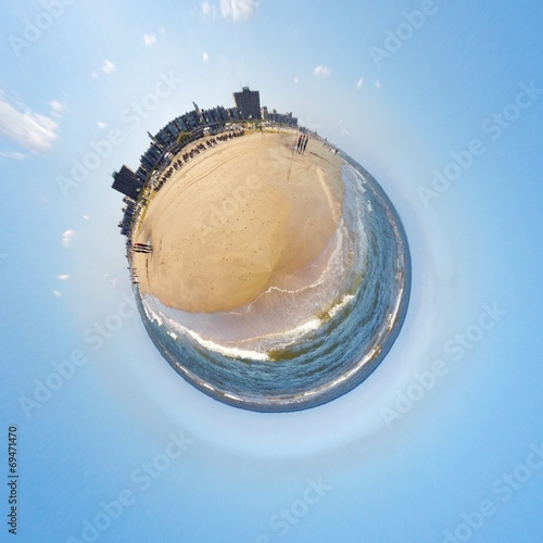 canvas print picture Kleiner Planet mit Strand
