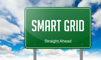 Smart Grid on Highway Signpost.