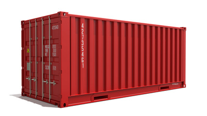 Red Container Isolated on White.