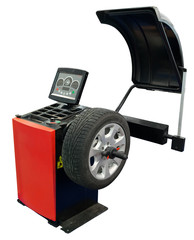Equipment for balancing tire. Clipping path included.