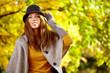 canvas print picture - Autumn woman portrait