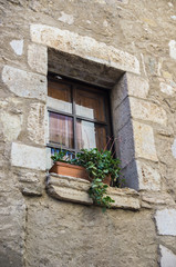 Rustic windows on european old homes