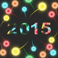 Happy New Year 2015 - colorful fireworks background