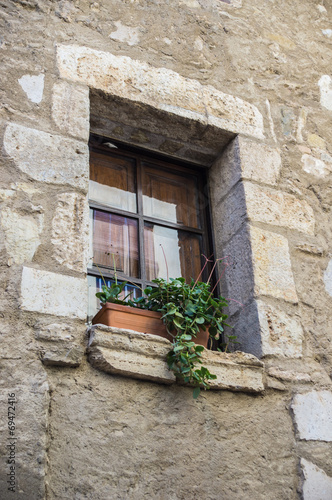 canvas print picture Rustic windows on european old homes