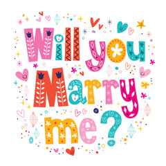 Will you Marry me retro typography lettering text design