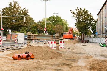Strasse gesperrt - Strassenbauarbeiten und Kanalbauarbeiten