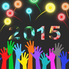 Happy New Year 2015 - colorful fireworks and hands background