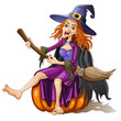 Funny witch sits on a pumpkin