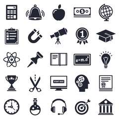Learning and school theme, black and white icons.