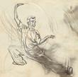 Taiji (Tai Chi). An full sized hand drawn illustration