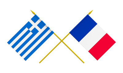 Flags, France and Greece