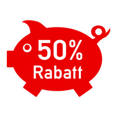 rs50 - RabattSchwein rot - 50 Prozent - g1419