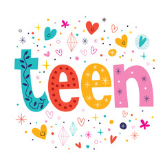 word teen retro typography lettering decorative text