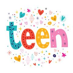 word teen retro typography lettering decorative text