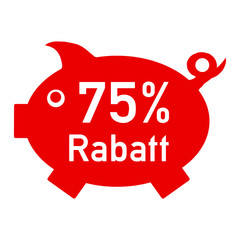 rs75 - RabattSchwein rot - 75 Prozent - g1425