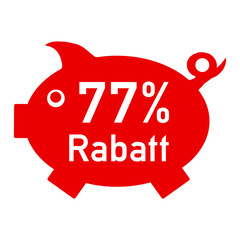 rs77 - RabattSchwein rot - 77 Prozent - g1426