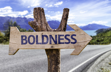 Boldness wooden sign with a street background