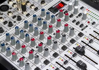 Closeup of a mixing desk