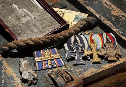 Leinwanddruck Bild Erster Weltkrieg WW1 Erinnerungen Orden Front