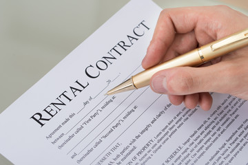 Hand Filling Rental Contract Form