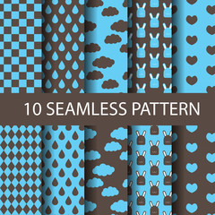 cute blue and brown seamless pattern set