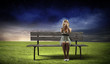canvas print picture - Girl on bench
