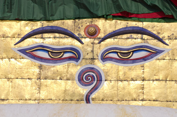 buddha wisdom eyes on stupa of Nepal temple