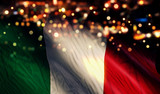 Italy National Flag Light Night Bokeh Abstract Background