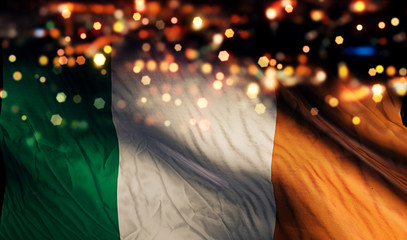 Ireland National Flag Light Night Bokeh Abstract Background