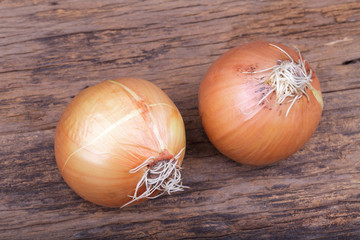 Ripe onion on wooden background