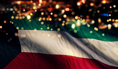 Kuwait National Flag Light Night Bokeh Abstract Background